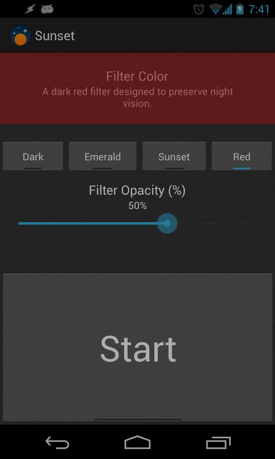 sunset screen filter