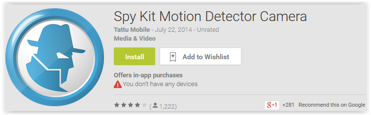 Spy Kit Motion Detector Camera - Android Apps Reviews