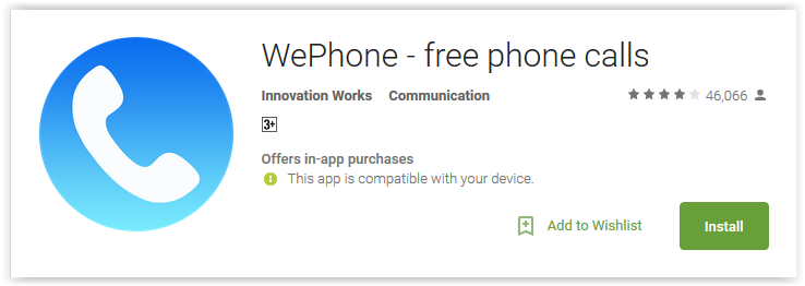 WePhone - free phone calls