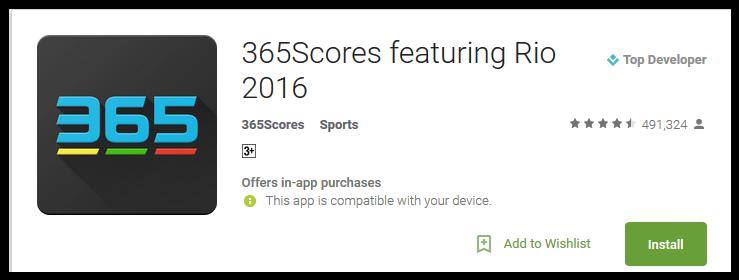 365Scores featuring Rio 2016