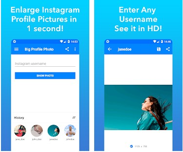 App To Quickly Enlarge Instagram Profile Photos - Android